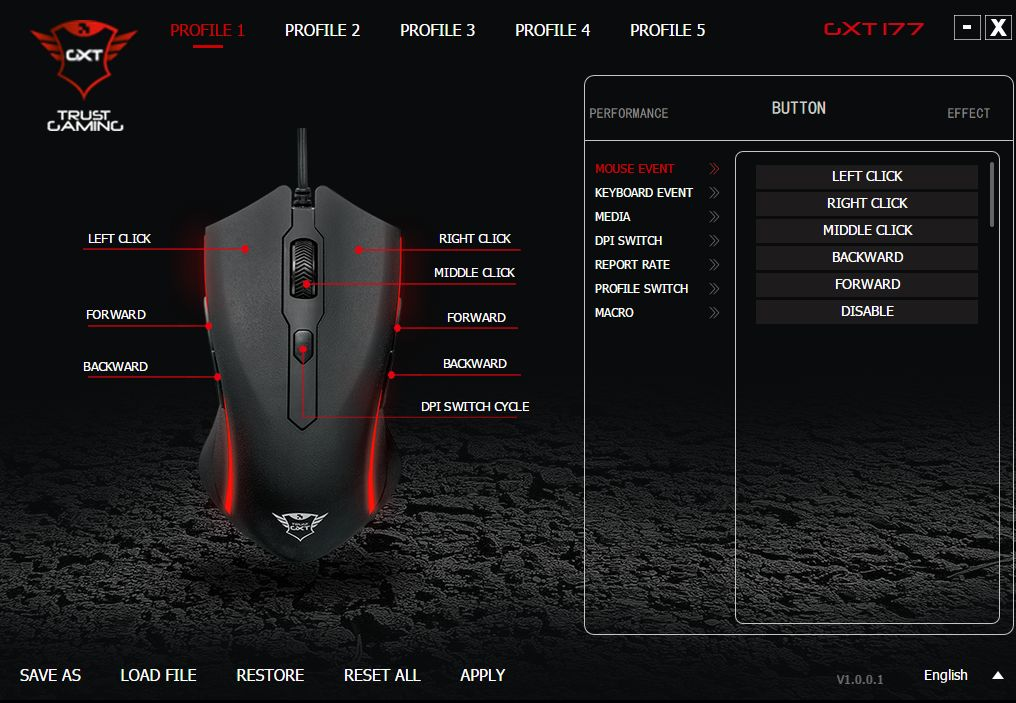 Trust GXT 177 Gaming Mouse - profile