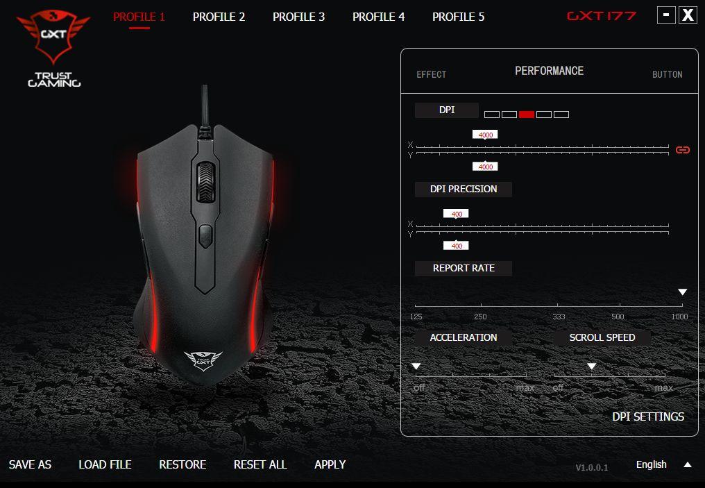 Trust GXT 177 Gaming Mouse - ustawienia myszky
