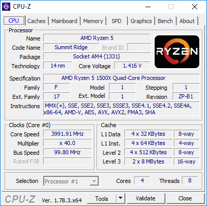 AMD Ryzen 5 1500X - podkręcanie