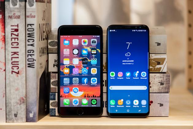 iPhone 7 Plus i Galaxy S8+ porównanie wielkości