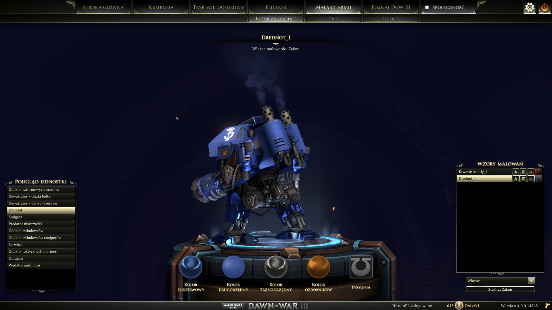 Dawn of War 3 - Drednot w malarzu armii w rzucie bocznym