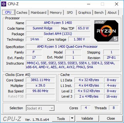 AMD Ryzen 5 1400 - podkręcanie