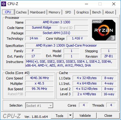 AMD Ryzen 3 1300X - podkręcanie