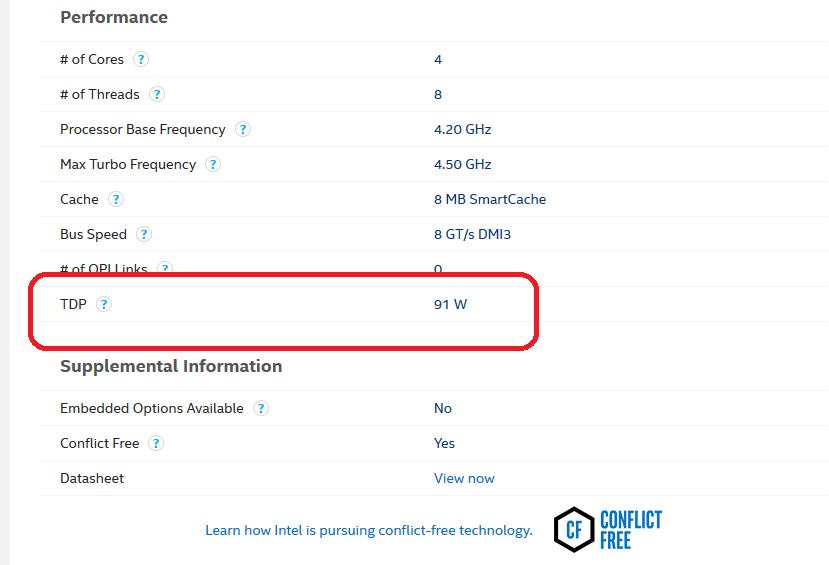 Intel Core i7-7700K - TDP