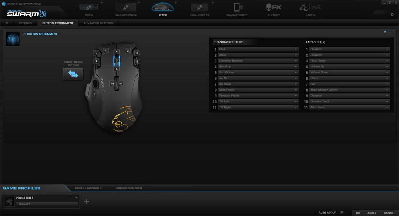 Roccat Leadr - konfiguracja przycisków w Roccat Swarm