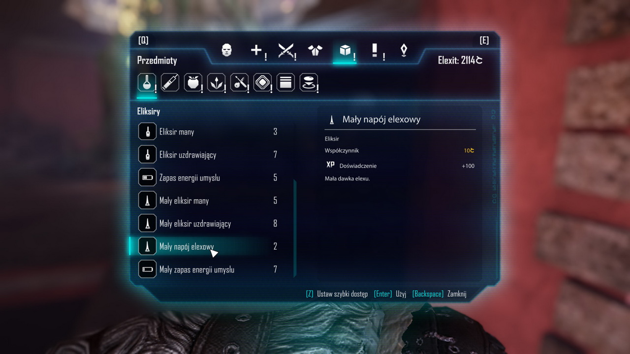 Elex - przedmioty w inwentarzu