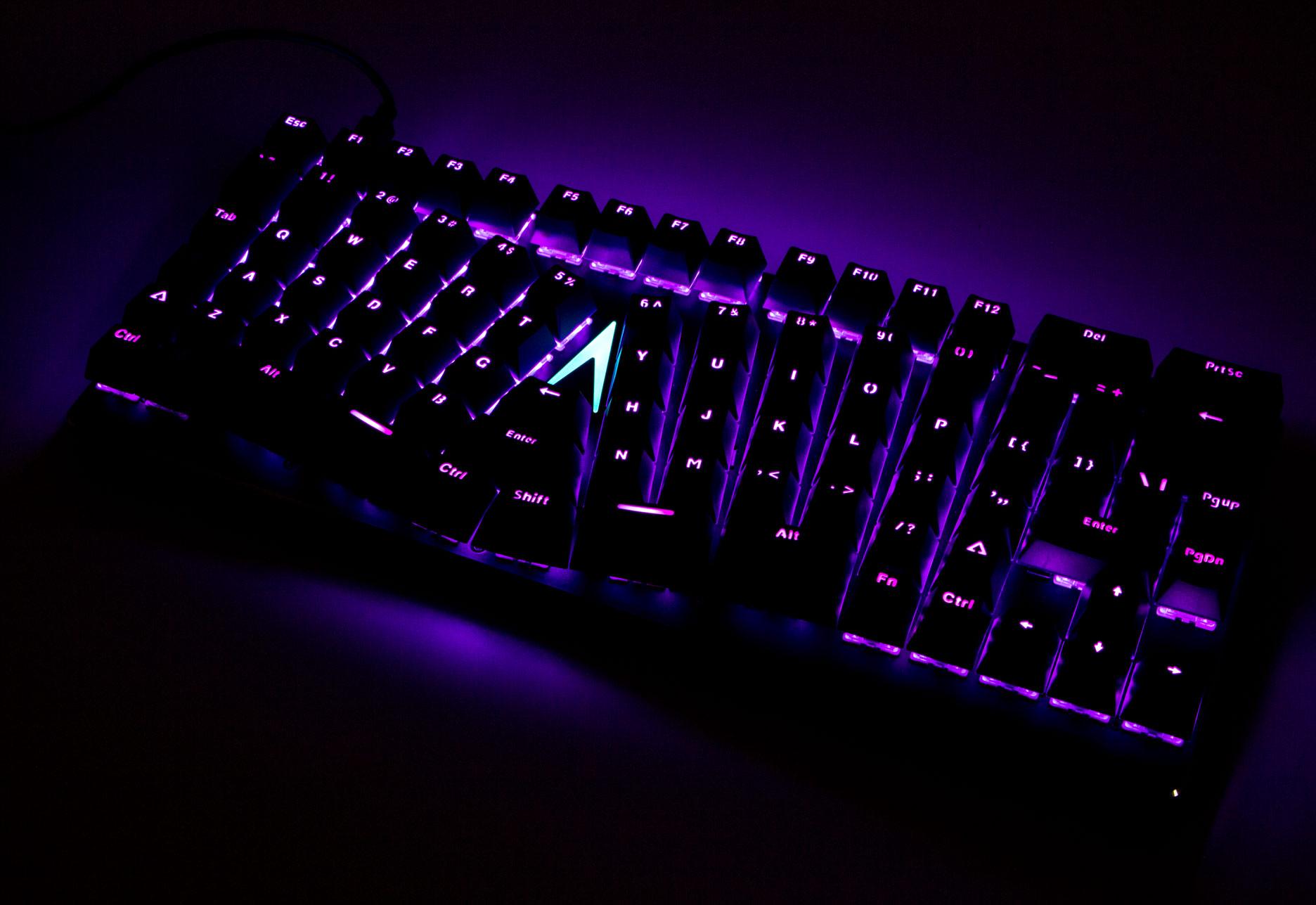 X-Bows Mechanical Ergonomic Keyboard - fioletowe podświetlenie