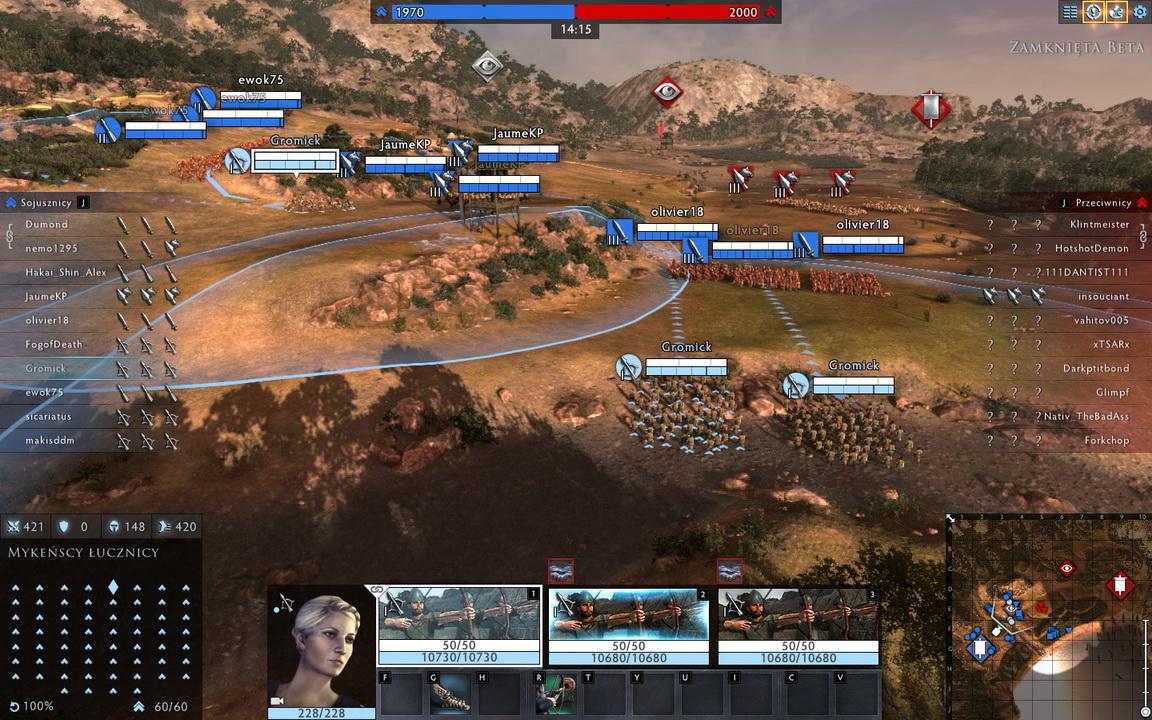 Total War: Arena - wojska zajmują pozycje