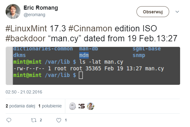 "#LinuxMint 17.3 #Cinnamon edition ISO #backdoor ""man.cy"""