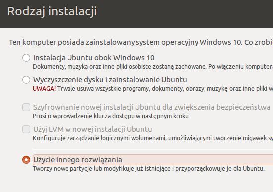 Instalacja Ubuntu obok Windows 10 - inne rozwiązanie