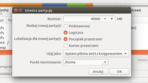 tworzenie partycji home - instalacja Ubuntu
