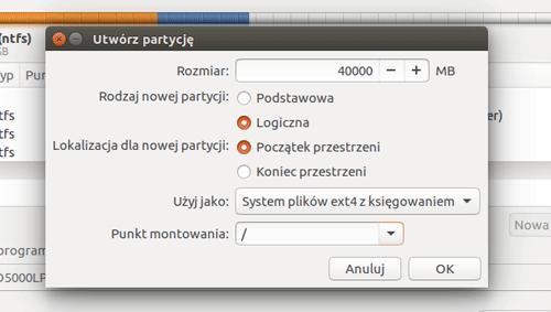 tworzenie partycji root - instalacja Ubuntu