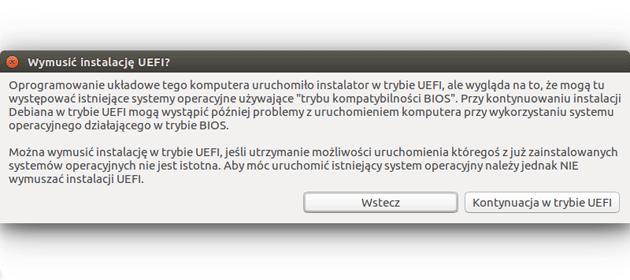 Komunikat Ubuntu dotyczący UEFI podczas instalacji