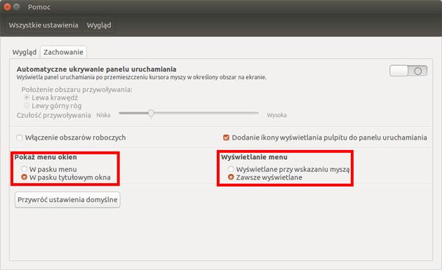 Zmiana ustawień wyświetlania menu aplikacji