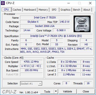 Intel Core i7-7820X - podkręcanie