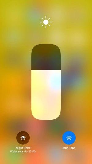 iPhone 8 Plus control center jasność