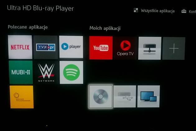 Sony UBP-X800 - aplikacje