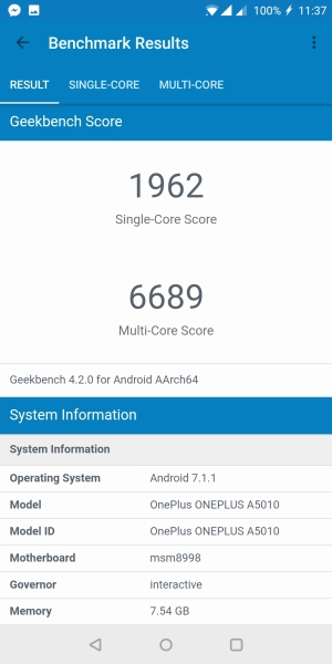 OnePlus 5T GeekBench