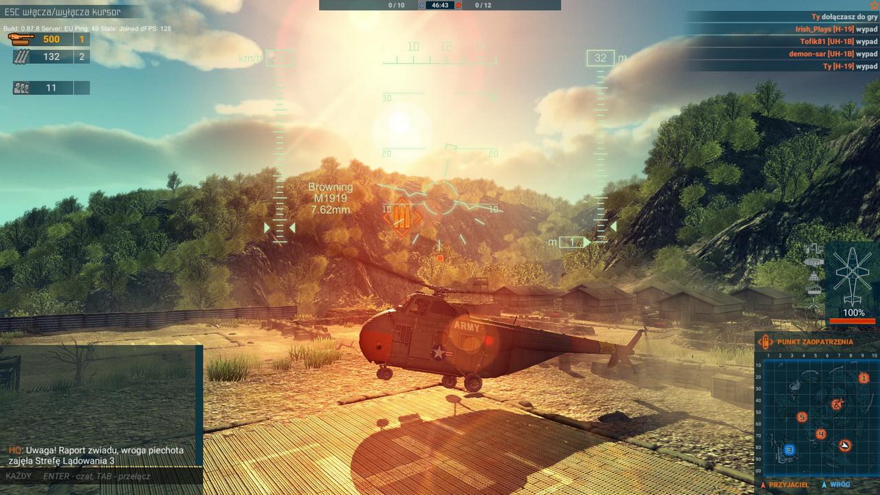 Heliborne - lądowanie na tle zachodzącego słońca