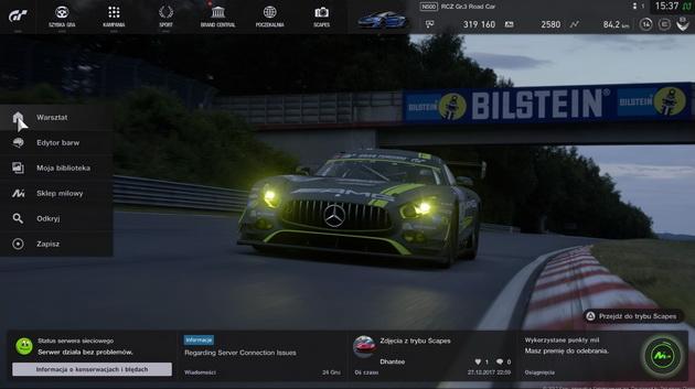 Gran Turismo Sport - ekran tytułowy z poszczególnymi menu