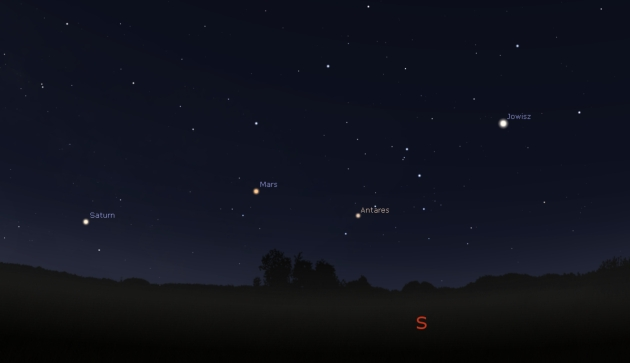 Niebo w kierunku południa. Stellarium