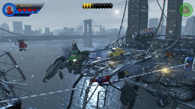 LEGO Marvel Super Heroes 2 - rozerwany w pół nowojorski most i Spiderman