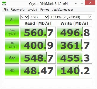 Crucial MX500 250GB - CrystalDiskMark