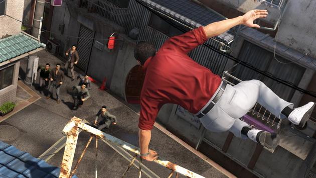 Yakuza 6: The Song of Life - skok przez barierkę