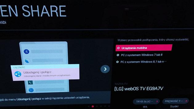 bezprzewodowy obraz ze smartfona na telewizorze LG