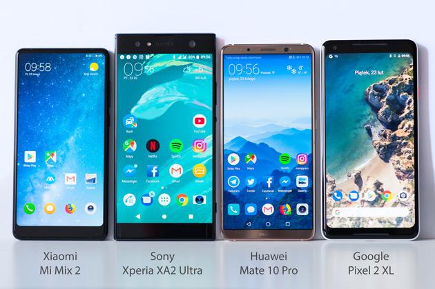 Porównanie wielkości smartfonów w wyświetlaczem 6 cali