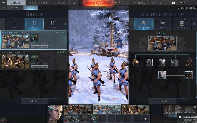Total War: Arena - wybór oddziałów