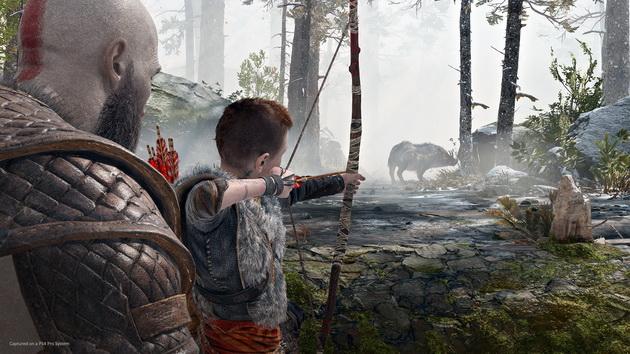 God of War - Kratos uczy Atreusa strzelać