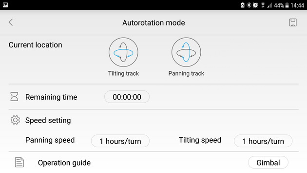 Feiyu-Tech Vimble 2 - opcje autorotacji