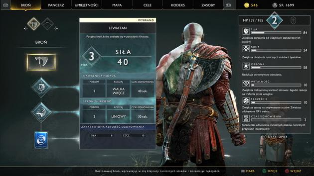 God of War - statystyki Kratosa