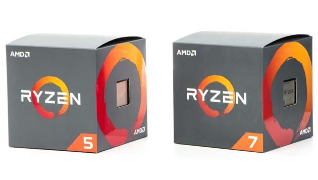 Pudełka AMD Ryzen 5 2600X i Ryzen 7 2700X