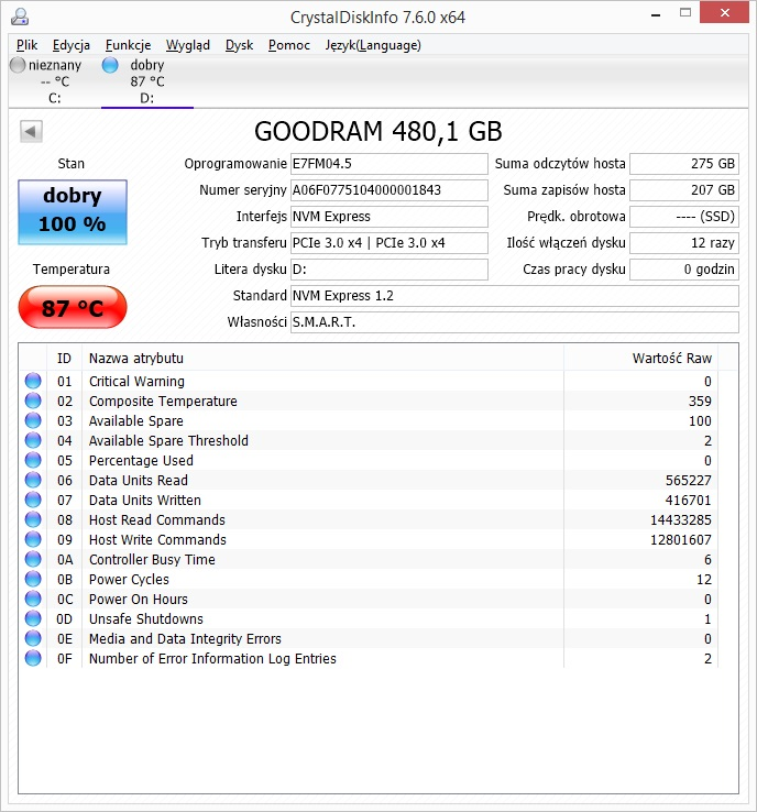 GOODRAM IRDM Ultimate 480 GB - temperatury bez radiatora