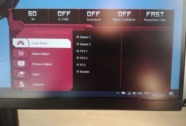 LG 32GK850G menu główne