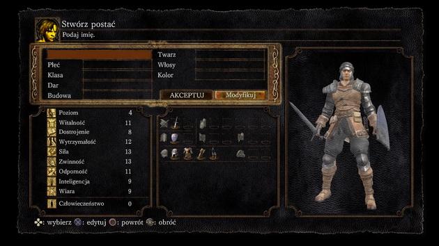 Dark Souls: Remastered - ekran tworzenia postaci