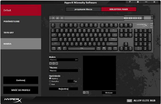 HyperX Alloy Elite RGB - tworzenie makr