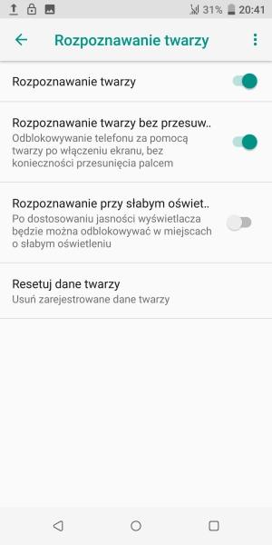 HTC U12+ rozpoznawanie twarzy