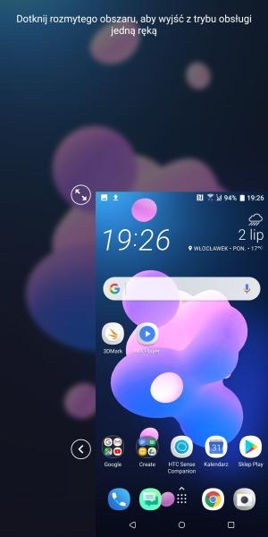 HTC U12+ tryb obsługi jedną dłonią