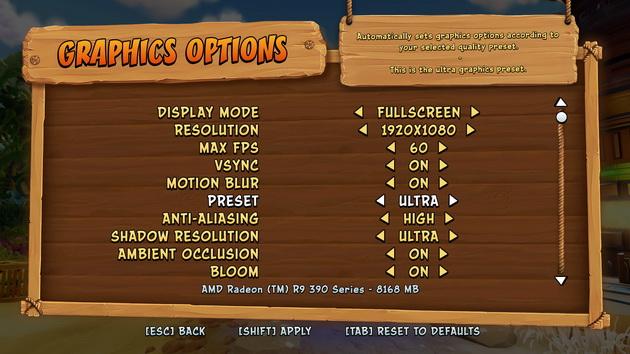 Crash Bandicoot N'Sane Trilogy - ekran ustawień grafiki