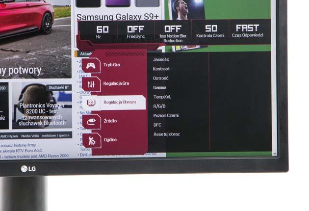LG 27GK750F menu główne