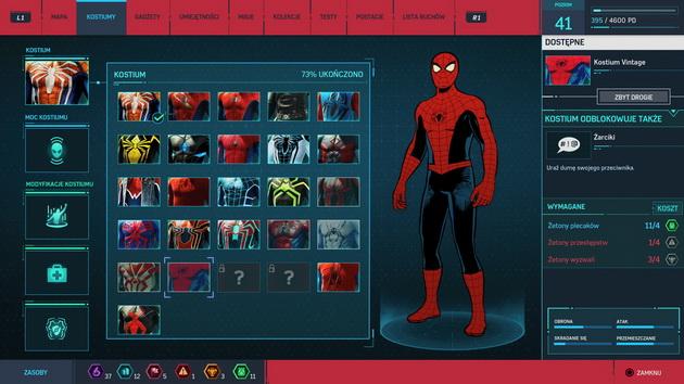 Spider-Man - odblokowana większość kostiumów