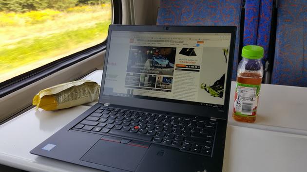 Lenovo ThinkPad T480s - w pociągu