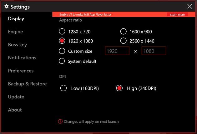 MSI App Player - konfiguracja