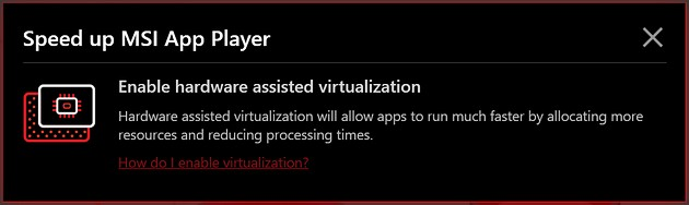 MSI App Player - speed up MSI