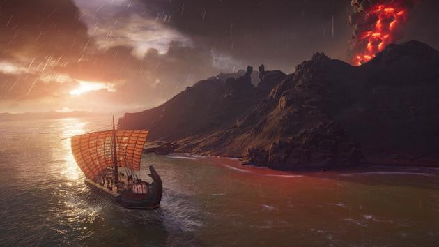 Assassin's Creed Odyssey - okręt koło wulkanu