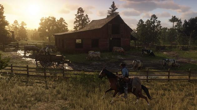 Red Dead Redemption 2 - przejazd obok farmy