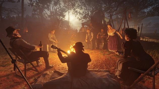 Red Dead Redemption 2 - zabawa przy ognisku